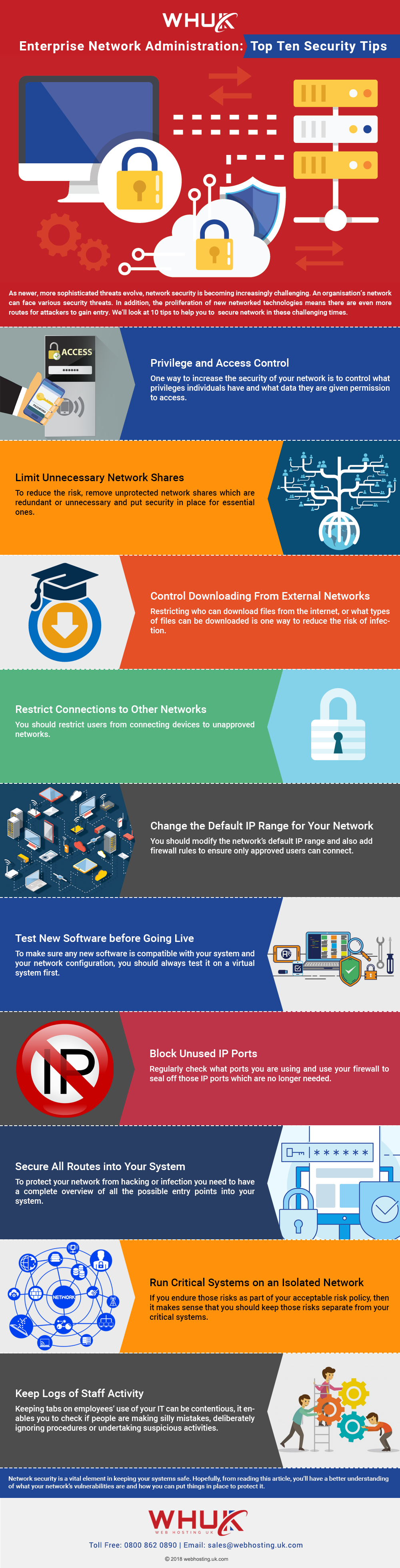 Enterprise Network Administration Top Ten Security Tips - infographic