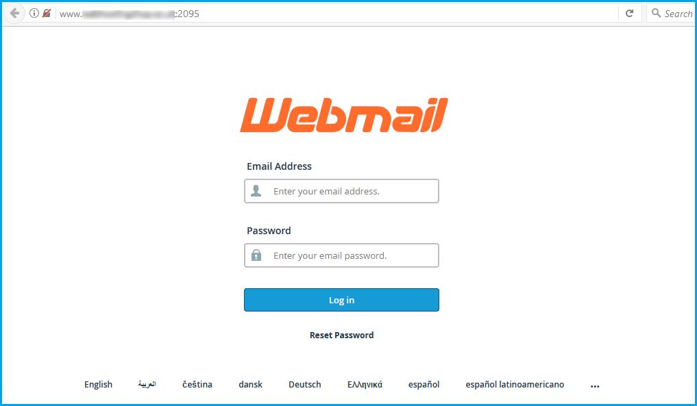 webmail login screen