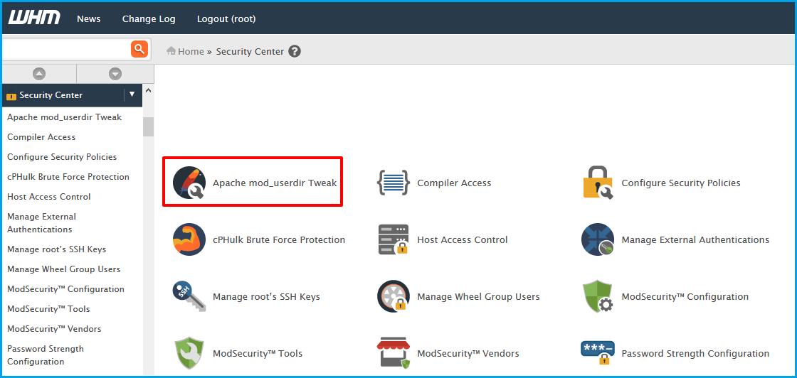 Apache mod-userdir Tweak-WHM