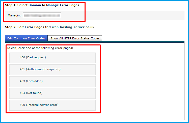 manage error pages