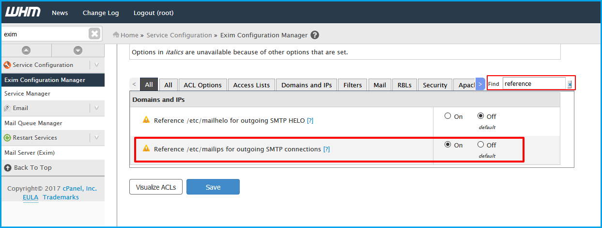 how to change smtp server in cpanel