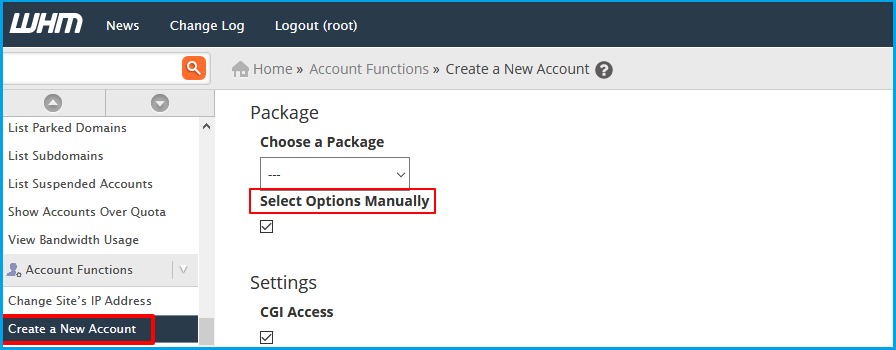 Select Options Manually